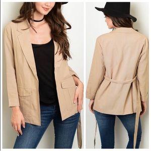 Jackets & Blazers - TODAY ONLY Taupe Tie Waist Blazer Jacket